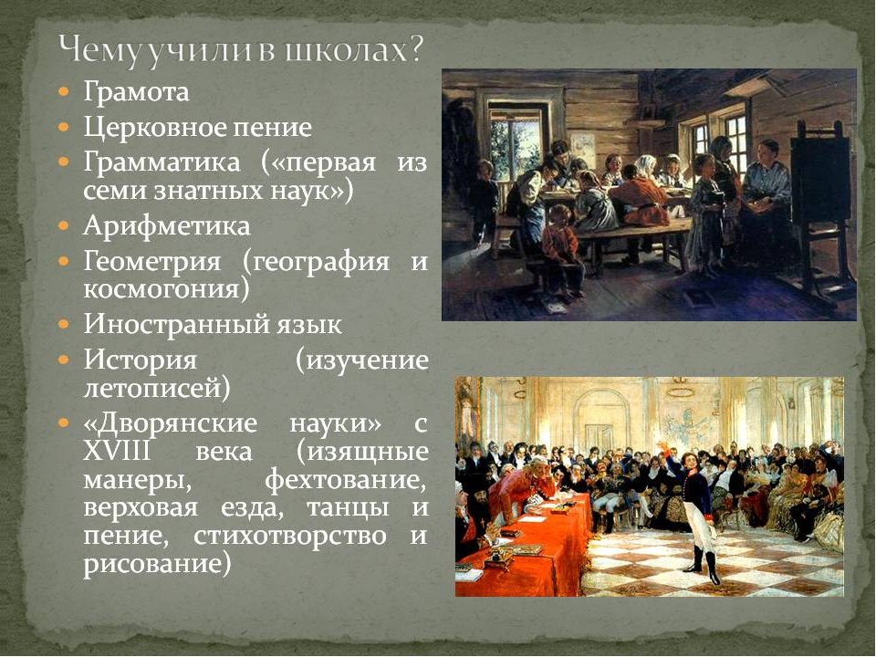 Грамота Церковное пение Грамматика Арифметика Геометрия География и космогони...