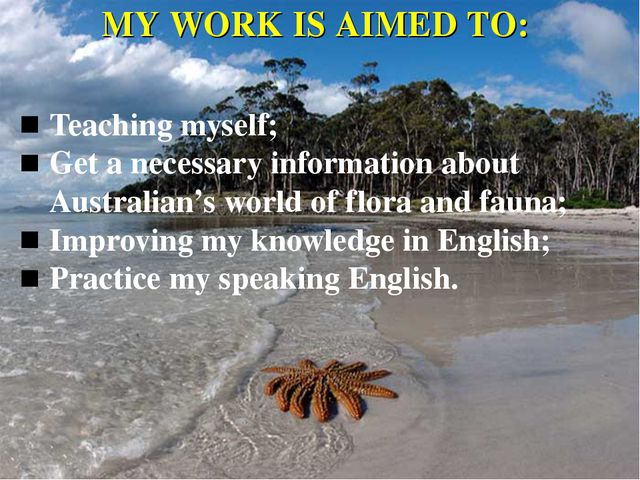 MY WORK IS AIMED TO: Teaching myself; Get a necessary information about Austr...