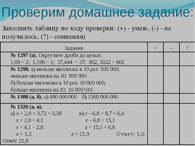 Проверим домашнее задание: Заполнить таблицу по ходу проверки: (+) - умею, (-...