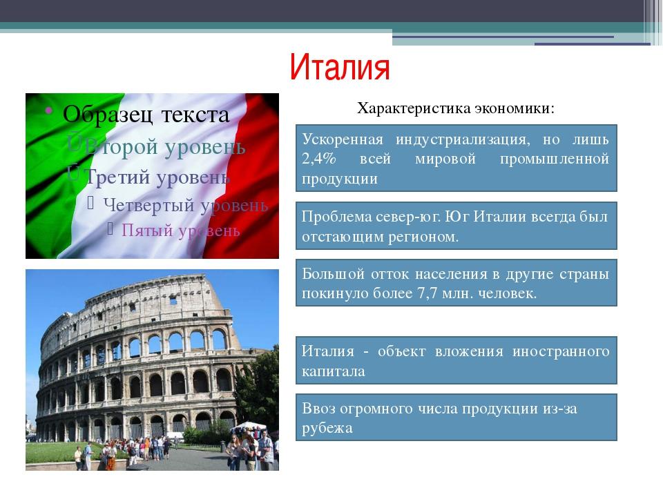 Италия Характеристика экономики: Ускоренная индустриализация, но лишь 2,4% вс...