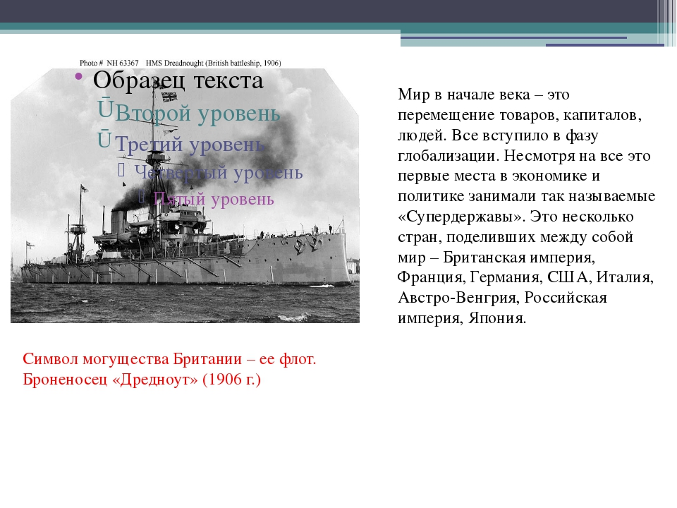 Символ могущества Британии – ее флот. Броненосец «Дредноут» (1906 г.) Мир в н...