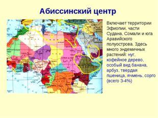 Абиссинский центр Включает территории Эфиопии, части Судана, Сомали и юга Ара