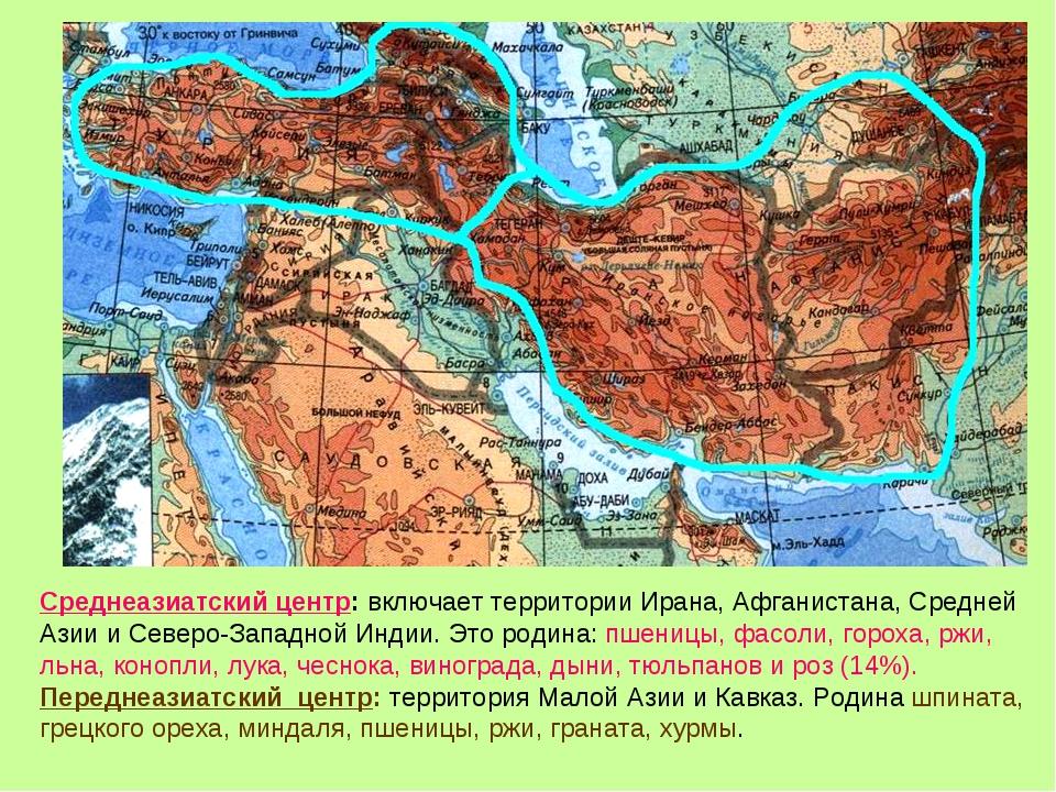 Среднеазиатский центр: включает территории Ирана, Афганистана, Средней Азии и...