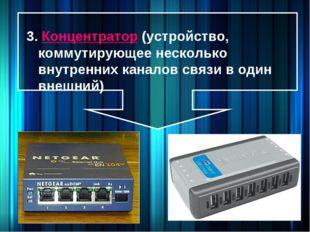3. Концентратор (устройство, коммутирующее несколько внутренних каналов связи