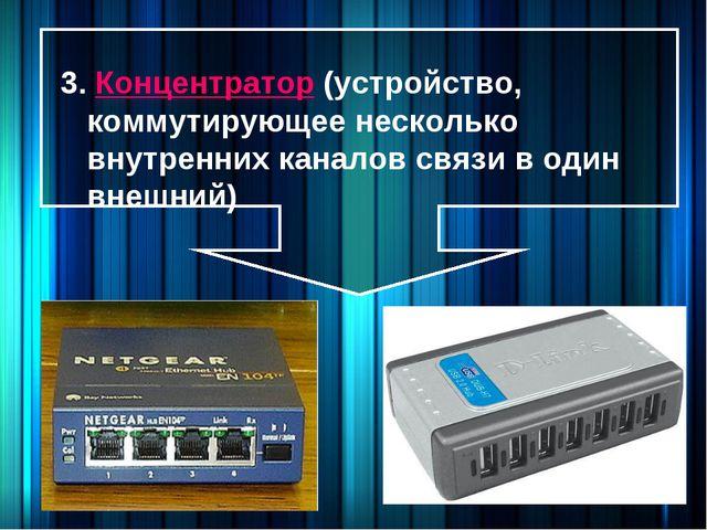 3. Концентратор (устройство, коммутирующее несколько внутренних каналов связи...