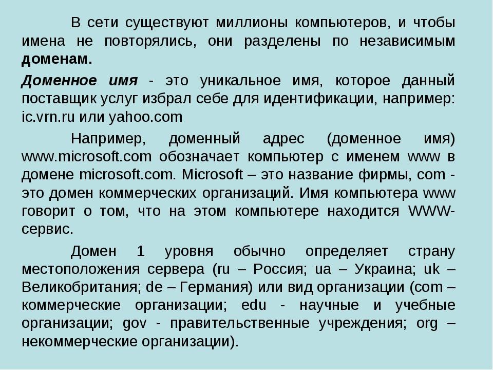 В сети существуют миллионы компьютеров, и чтобы имена не повторялись, они ра...