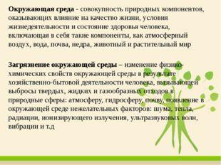 Окружающая среда - совокупность природных компонентов, оказывающих влияние на