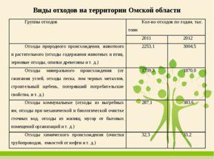 Виды отходов на территории Омской области