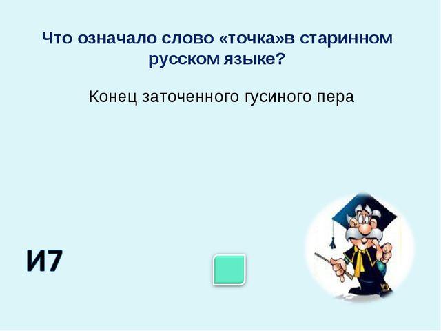 Конец заточенного гусиного пера Что означало слово «точка»в старинном русском...