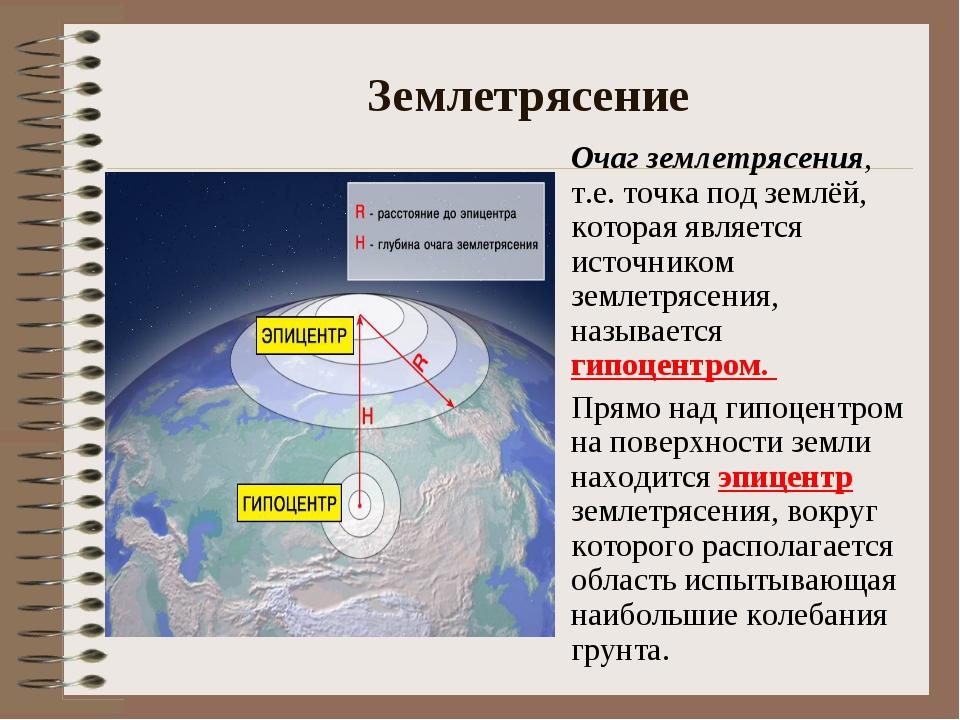 Землетрясение Очаг землетрясения, т.е. точка под землёй, которая является ис...