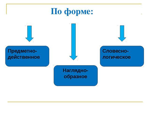 По форме: Предметно- действенное Наглядно- образное Словесно- логическое