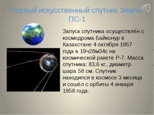 Первый искусственный спутник Земли ПС-1 Запуск спутника осуществлён с космодр