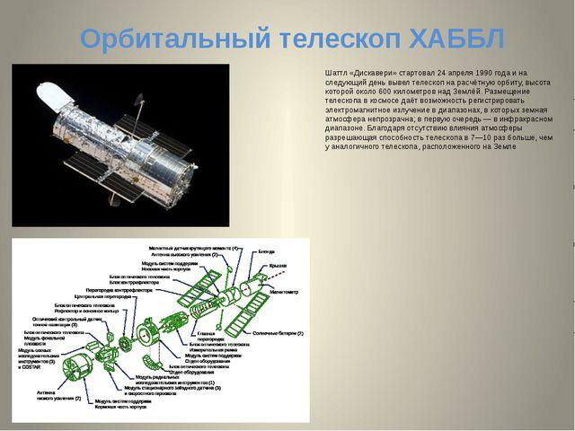 Орбитальный телескоп ХАББЛ Шаттл «Дискавери» стартовал 24 апреля 1990 года и...