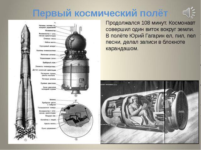 Первый космический полёт Продолжался 108 минут. Космонавт совершил один виток...