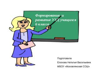 Формирование и развитие УУД учащихся 6 класса Подготовила Елохова Наталья Вас