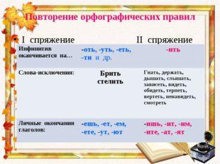 Повторение орфографических правил I спряжение II спряжение Инфинитив оканчива