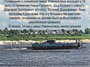 Упоминание о поморской семье Ломоносовых восходит к 16 веку, ко временам Иван