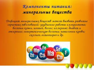 Компоненты питания: минеральные вещества Дефицит минеральных веществ может вы