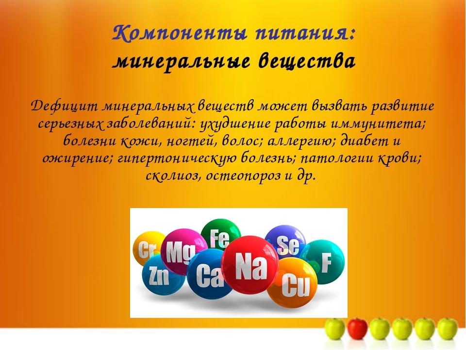 Компоненты питания: минеральные вещества Дефицит минеральных веществ может вы...