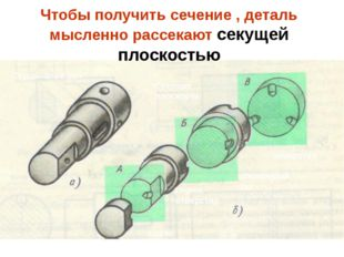 Чтобы получить сечение , деталь мысленно рассекают секущей плоскостью Ступенч