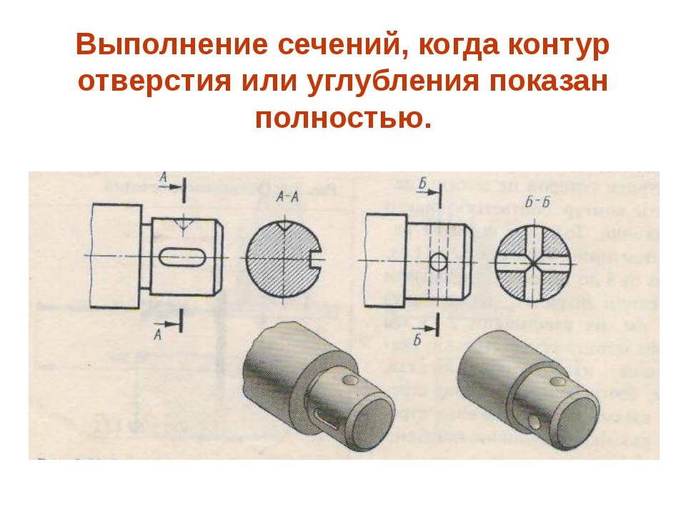 Выполнение сечений, когда контур отверстия или углубления показан полностью.