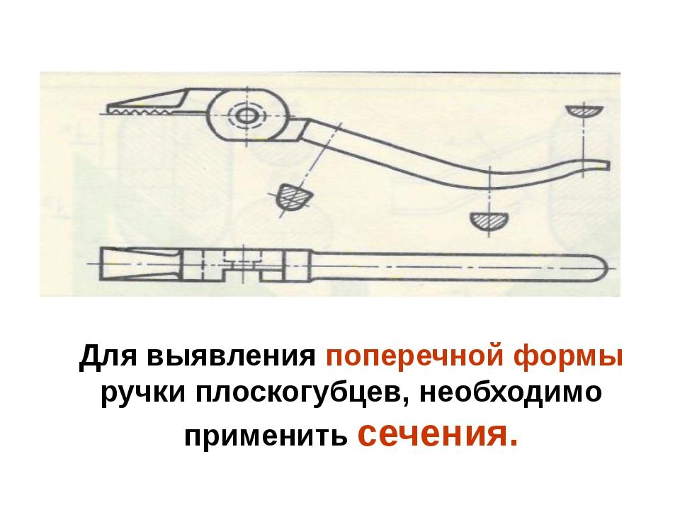 Для выявления поперечной формы ручки плоскогубцев, необходимо применить сечен...