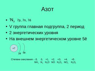 Азот 7N14 7p, 7n, 7ē V группа главная подгруппа, 2 период 2 энергетических ур