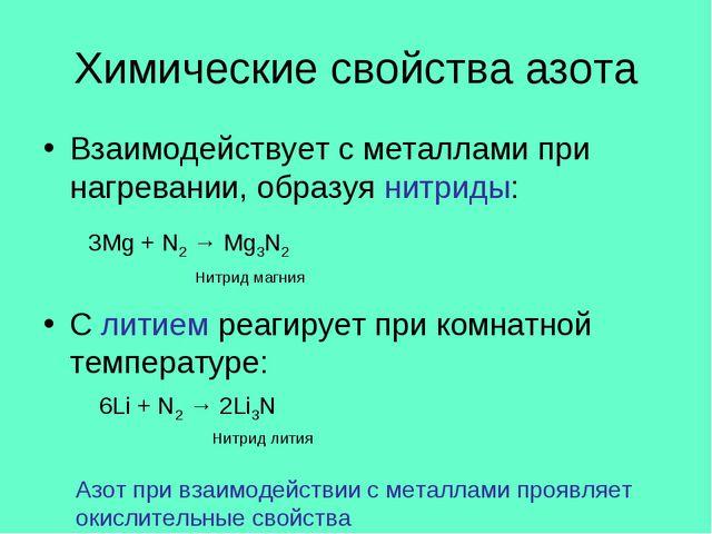 Химические свойства азота Взаимодействует с металлами при нагревании, образуя...