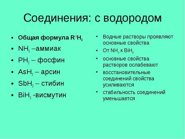 Соединения: с водородом Общая формула R-3H3 NH3 –аммиак PH3 – фосфин AsH3 – а...