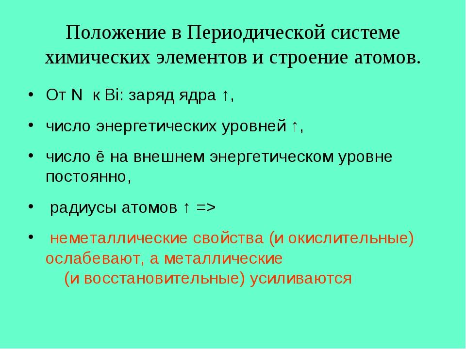 Положение в Периодической системе химических элементов и строение атомов. От...