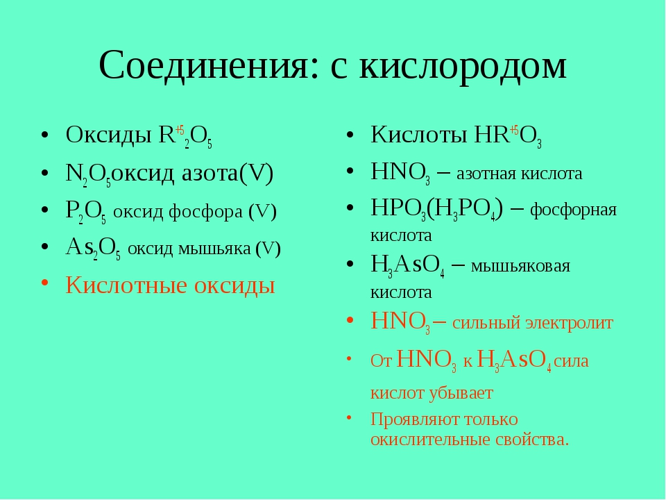 Соединения: с кислородом Оксиды R+52O5 N2O5оксид азота(V) P2O5 оксид фосфора...