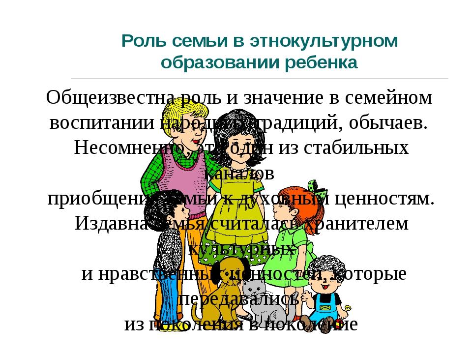 Роль семьи в этнокультурном образовании ребенка Общеизвестна роль и значение...