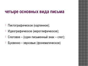 четыре основных вида письма Пиктографическое (картинное); Идеографическое (ие