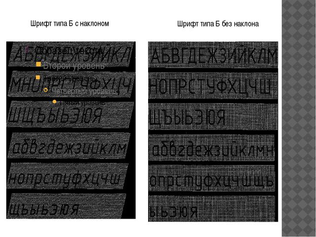 Шрифт типа Б с наклоном Шрифт типа Б без наклона