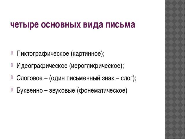 четыре основных вида письма Пиктографическое (картинное); Идеографическое (ие...