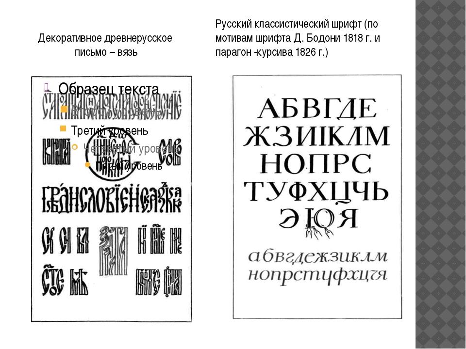 Декоративное древнерусское письмо – вязь Русский классистический шрифт (по мо...