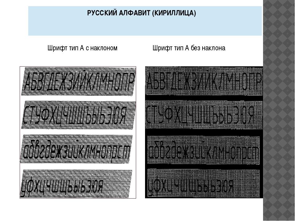 Шрифт тип А с наклоном Шрифт тип А без наклона РУССКИЙ АЛФАВИТ (КИРИЛЛИЦА)