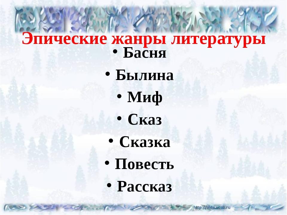 Эпические жанры литературы Басня Былина Миф Сказ Сказка Повесть Рассказ
