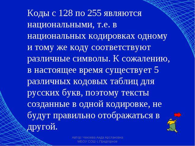 Автор: Чекоева Аида Арслановна МБОУ СОШ с.Предгорное Коды с 128 по 255 являют...