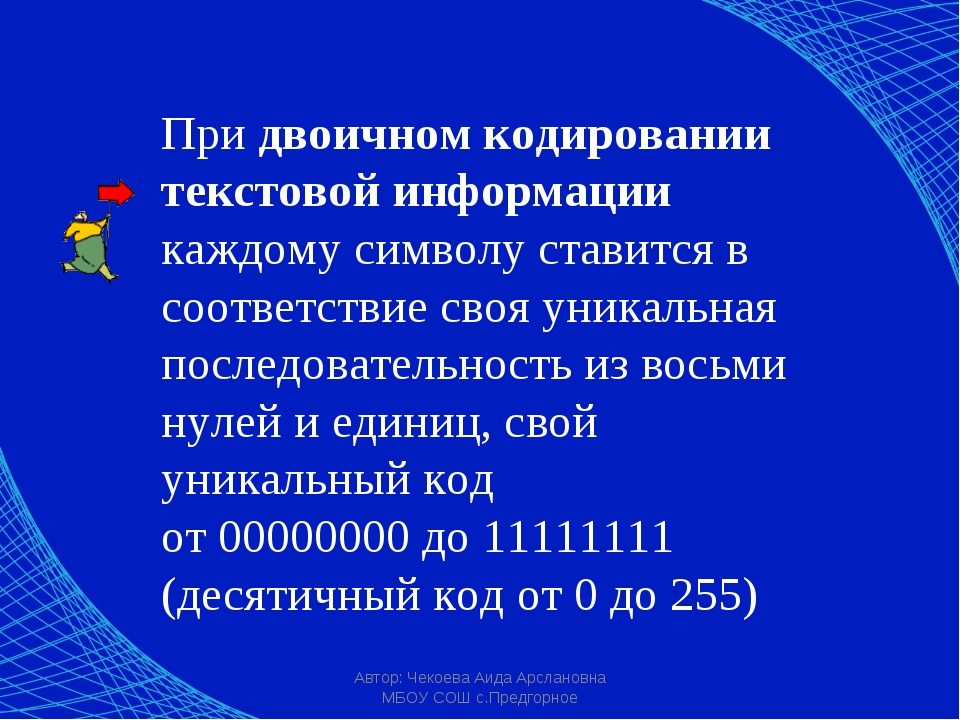 Автор: Чекоева Аида Арслановна МБОУ СОШ с.Предгорное При двоичном кодировании...