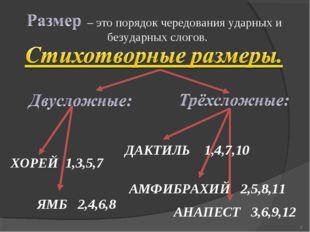 – это порядок чередования ударных и безударных слогов. ХОРЕЙ 1,3,5,7 ЯМБ 2,4