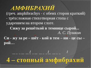 (греч. amphibrachys - с обеих сторон краткий) - трёхсложная стихотворная сто