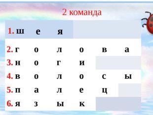 2 команда 1.ш е я 2.г о л о в а 3.н о г и 4.в о л о с ы 5.п а л е ц 6.я з ы к