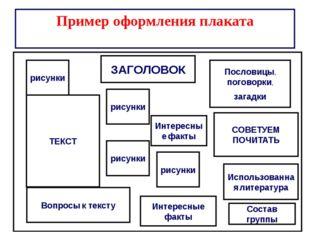 Пример оформления плаката ЗАГОЛОВОК ТЕКСТ рисунки рисунки Пословицы, поговор
