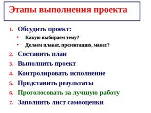 Этапы выполнения проекта Обсудить проект: Какую выбираем тему? Делаем плакат,