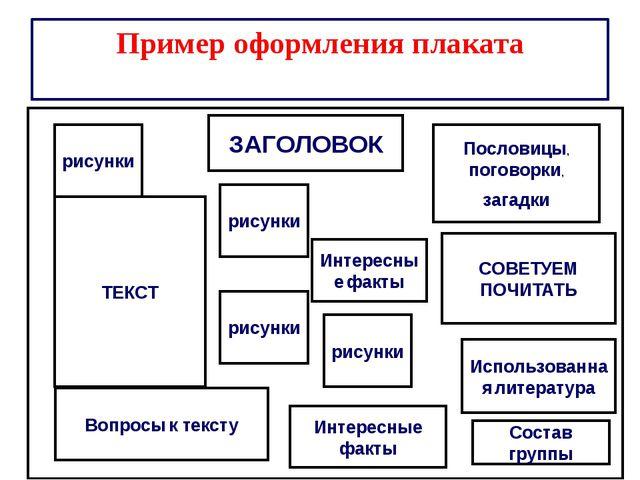 Пример оформления плаката ЗАГОЛОВОК ТЕКСТ рисунки рисунки Пословицы, поговор...