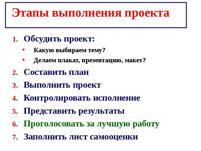 Этапы выполнения проекта Обсудить проект: Какую выбираем тему? Делаем плакат,...