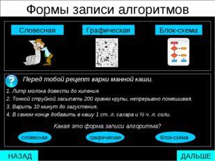 Формы записи алгоритмов  Блок-схема Графическая Словесная Перед тобой рецеп