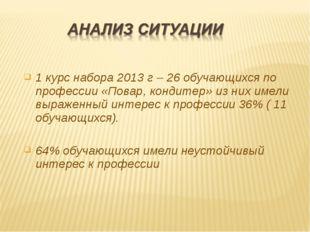 1 курс набора 2013 г – 26 обучающихся по профессии «Повар, кондитер» из них