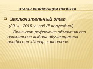 ЭТАПЫ РЕАЛИЗАЦИИ ПРОЕКТА Заключительный этап  (2014– 2015 уч.год /II полугод
